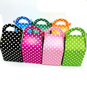 Details About 5 Colours Polka Dot Party Boxes Loot Bags Takeaway Lunch Pack Birthday Boxes