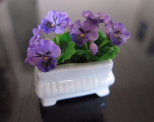Purple Pansy White Window Pot Dollhouse Miniatures Garden