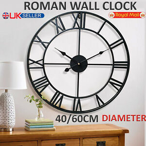 Large-Outdoor-Garden-Wall-Clock-Metal-Roman-Numeral-40-60CM-Round-Face-Black