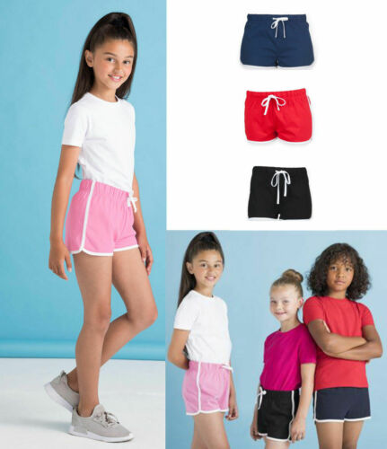 Unisex Retro Boys Girls Children PE School Sports Fitness Gym Running Shorts