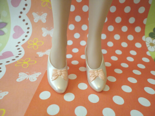 Doll Shoes ~ Franklin Mint 15 Pearl White Bow Heel Shoes 1PAIR/GENE DOLL