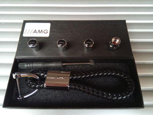 MERCEDES BENZ AMG Luxury leather keyring key chain Key ring fob Gift box Set