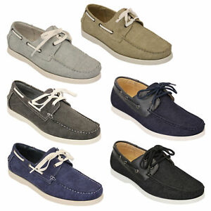 Mens Denim Leather Boat Shoes Driving