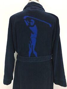6456-Daniel-Cremieux-Sleepwear-Robe-Blue-HEAVY-Kimono-Style-Belt-Pockets-Golf
