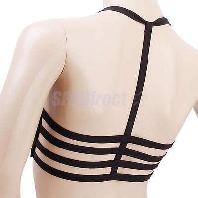 Black Women's Padded Bra Crop Tops Sport Vest Cut Out Bralette Beach Tank Tops