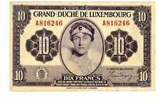 """Luxembourg ... P-44 ... 10 Francs ... ND(1944) ... *F-VF* ... Prefix Letter """"A"""""""