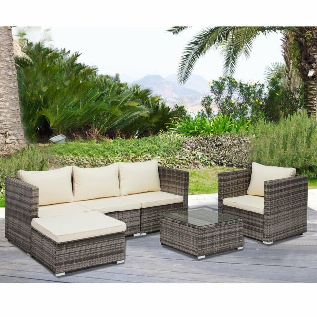 6 PCS Rattan Furniture Set Sofa Garden Outdoor Patio PE Wicker Cushioned  sc 1 st  eBay & 6pc Rattan Wicker Patio Furniture Set Outdoor Cushioned Sofa u0026 Table ...
