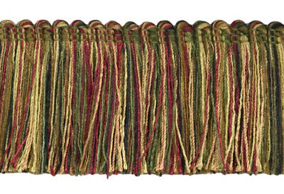 "Cherry Red Olive Green Black|2/"" Brush Fringe Trim|Evergreen Berri Yellow Gold"