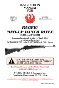 ruger mini 14 223 rifle gun owners manual handbook ebay rh ebay com mini-14 ranch rifle owners manual mini 14 owners manual