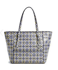 673bbc0ffa1 GUESS Delaney Classic Medium Tote Handbag Purse Geo print Blue Multi color