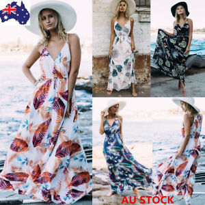 Women-Boho-V-Neck-Maxi-Dress-Floral-Sleeveless-Sundress-Evening-Beach-Long-Dress