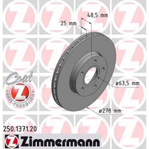 2 Zimmermann Bremsscheiben Ford C-Max Focus III Turnier Stufenheck 278mm