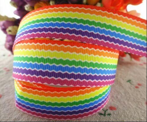 """Arco iris de rayas de cinta de Grogrén 1m X 22mm Ancho 7//8/"""" Pastel de cumpleaños de arco de pelo"""