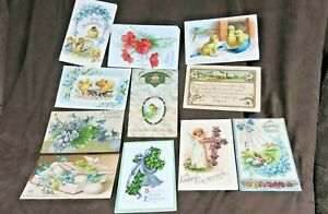 VINTAGE-EASTER-CARDS-Printed-in-Germany-11-Early-Easter-Post-Cards-Lot-3