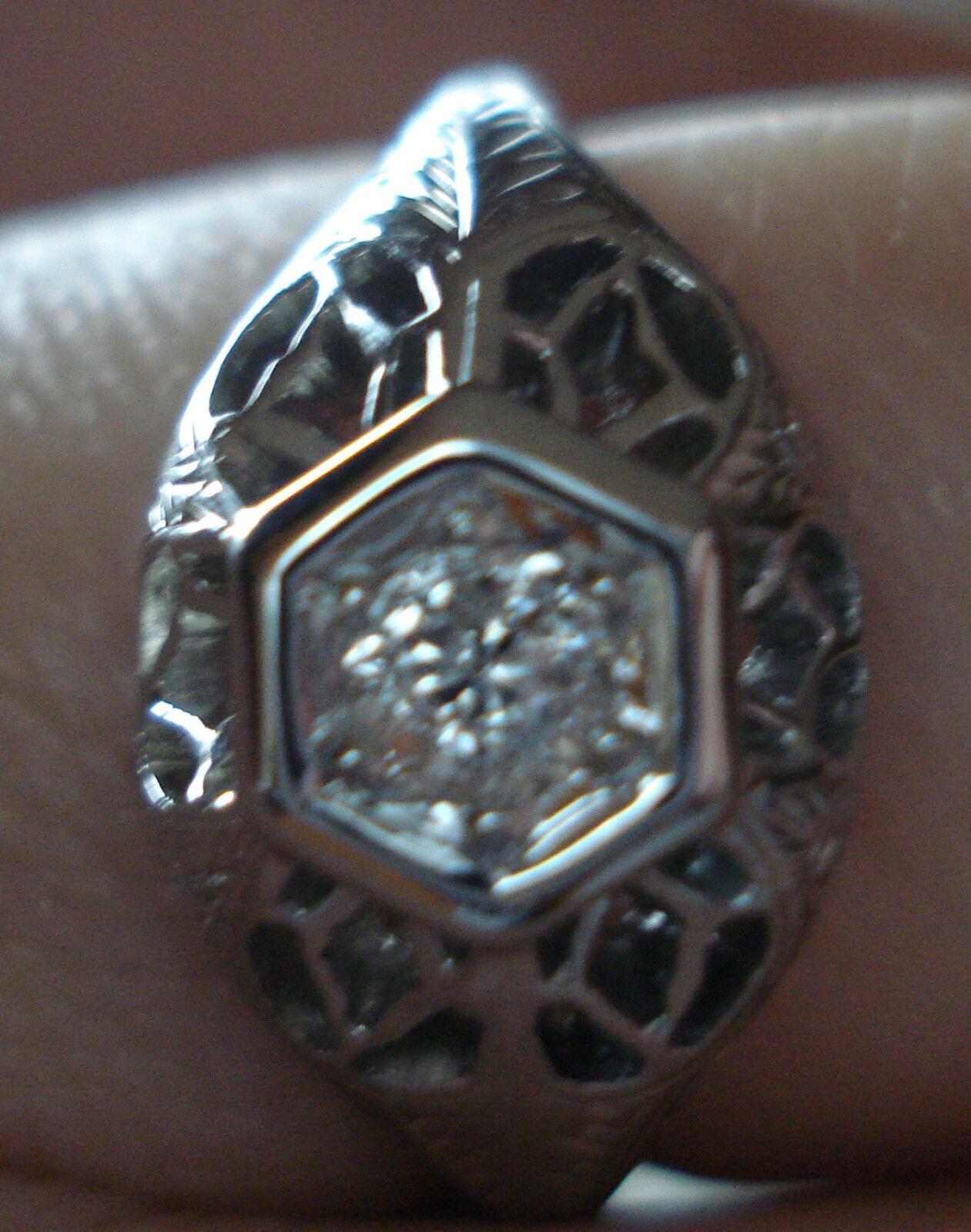 BELAIS Vintage Antique European Diamond Filigree Engagement Ring 18K White gold