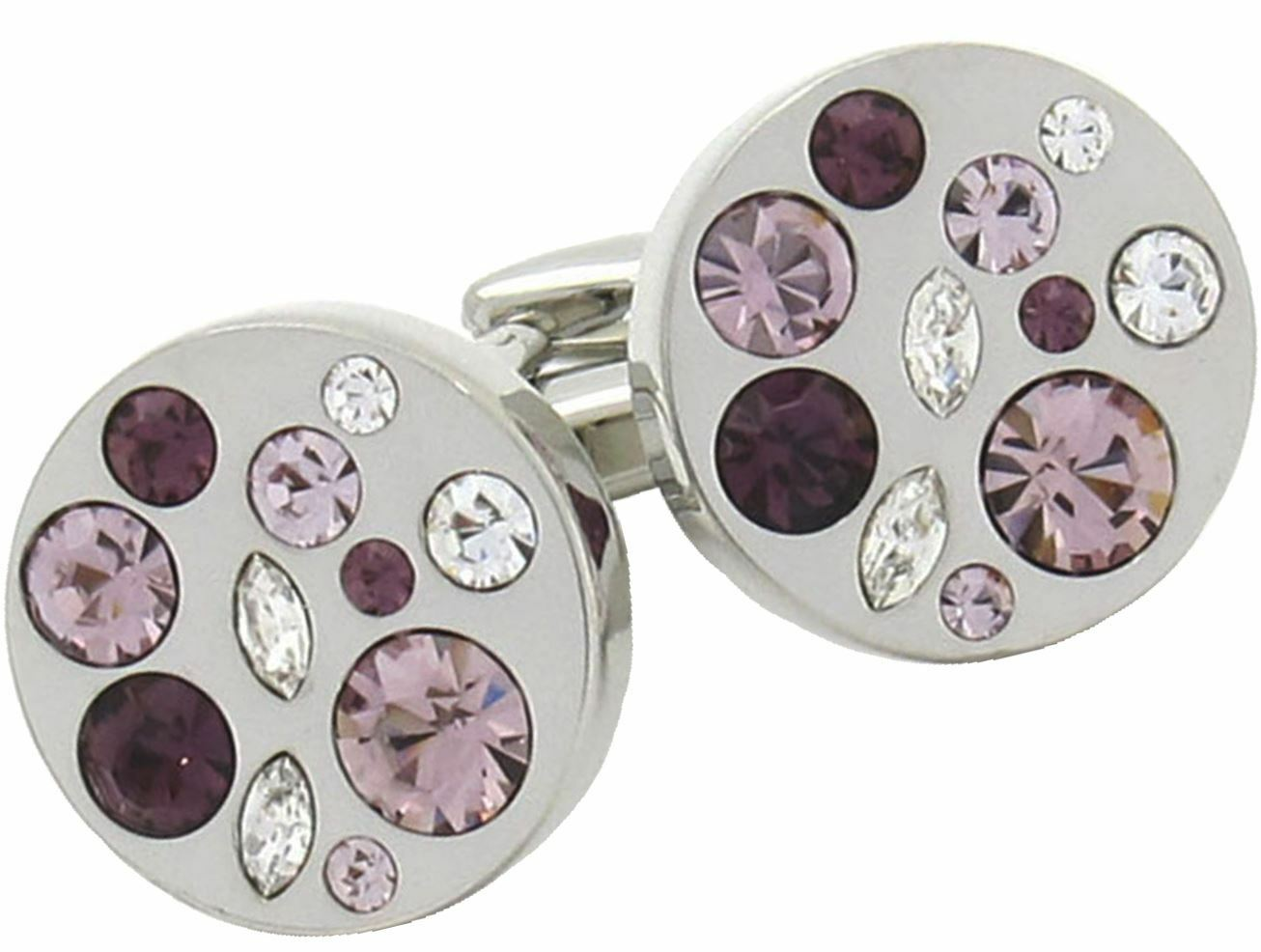Circle Circle Circle Cufflinks With Amathyst Design e584dc