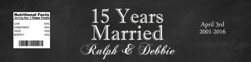 """100 15 Years Married Anniversary Party Wedding Water Bottle Labels 8/""""x2/"""""""