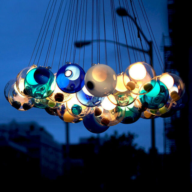 Blue Pendant Suspension Light Elegant hand blown glass by Hampstead lighting NEW