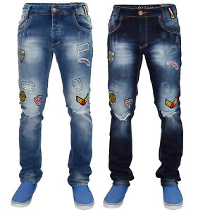 Ripped-Jeans-para-hombre-de-algodon-elastico-impreso-Slim-Fit-Denim-Pantalones-Pantalones-Cintura