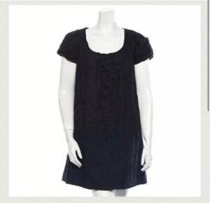 Robert-Rodriguez-Black-Label-Womens-Linen-Eyelet-Knit-Dress-Black-Size-2