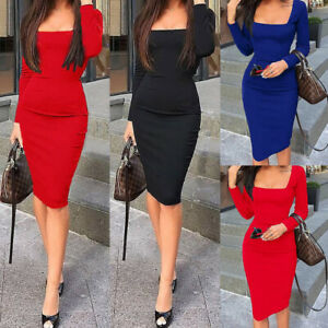 Women-Bandage-Bodycon-Solid-Long-Sleeve-Evening-Party-Cocktail-Short-Midi-Dress