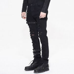 Devil Fashion Gothic Men Skinny Trousers Steampunk Slim-Fitting Striped Leather Pencil Pants