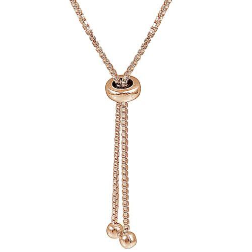 Rose Or Plaqué Argent Sterling 8 mm Perle Réglable Bracelet