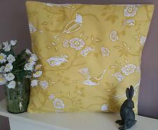 Bird Fabric Cushion Cover Shabby Chic - Mustard & White Gorgeous Fabric