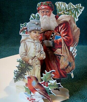 Original Mamelok 3-d Greeting Card W/envelope Child & Bird Christmas Santa With Tree