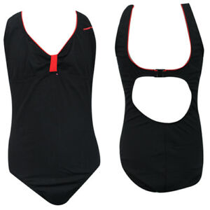 Maru Black Red Womens Uv Protective All In One Swimming Costume