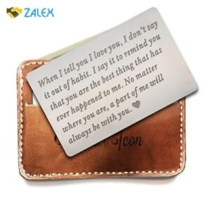 Details about Christmas Gifts For Dad Men Husband Personalized Metal Wallet  Love Note Cards
