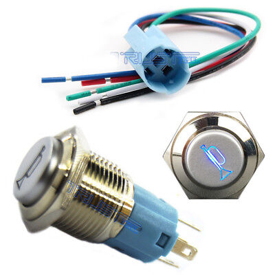 12V 16mm Air Horn Momentary Push Button Switch LED Light Blue Socket Connector