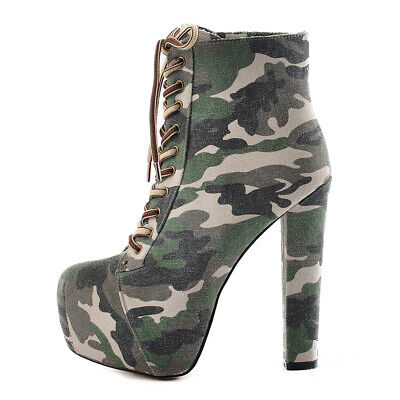 Womens High Heels Platform Ankle Boots Lace Up Chunk Heel Combat Boots Shoes Sz