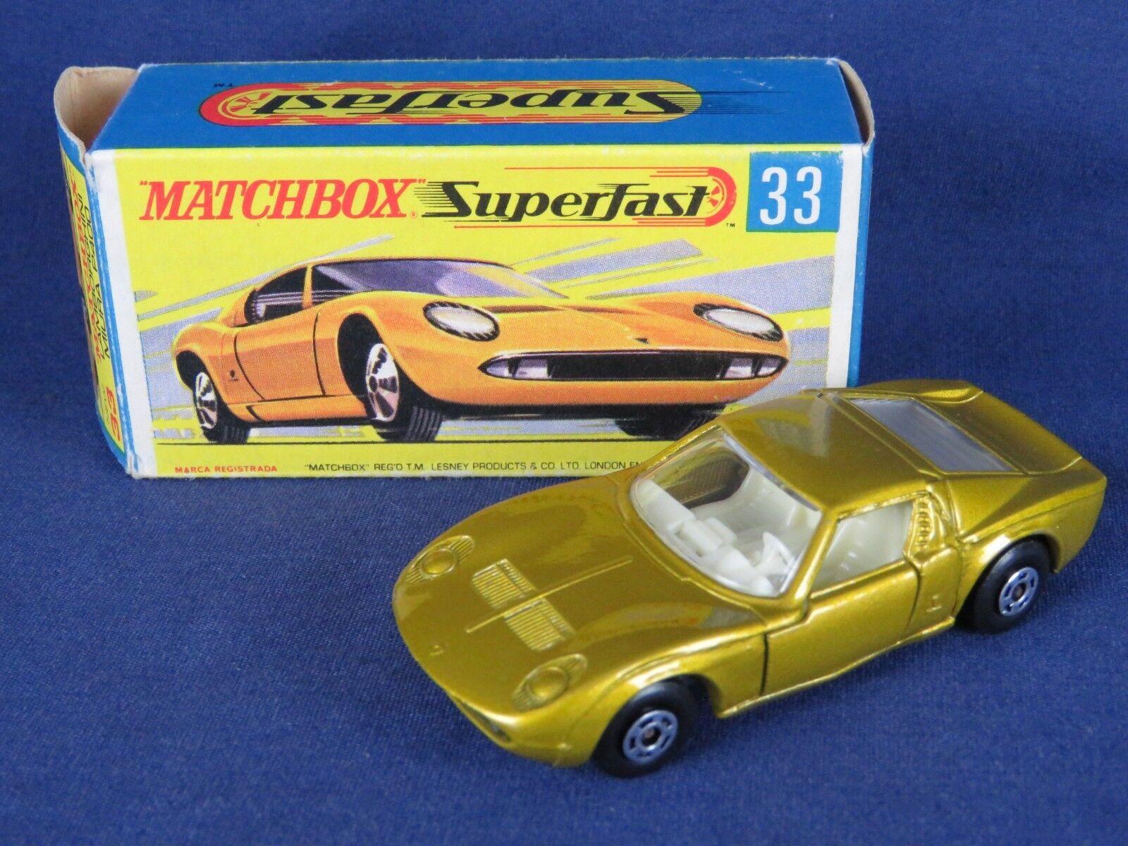 LESNEY MATCHBOX SUPERFAST VNTG 1969  33 Lamborghini  Miura P400 Comme neuf avec boîte d'orig.  le meilleur service après-vente