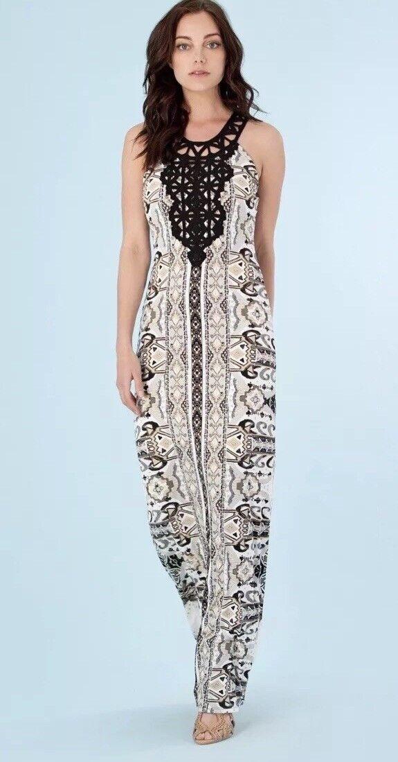 Hale Bob Small Esma schwarz Crochet Neckline Printed Maxi Dress Euc Worn Once