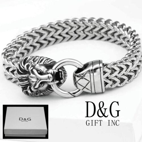 """DG Men/'s 8.5/"""" Silver.Stainless-Steel,LION-Head.Width Franco Bracelet Box"""