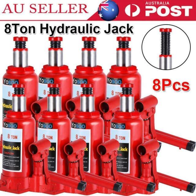 8 Pc Portable 8 Ton Hydraulic Bottle Jack Car Truck Caravan Tractor SUV Ute 4WD