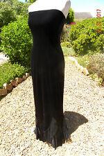 BEAUTIFUL LONG  BLACK VELVET DRESS, SIZE 10, MORTICIA, GOTHIC, STEAMPUNK, FRILLS