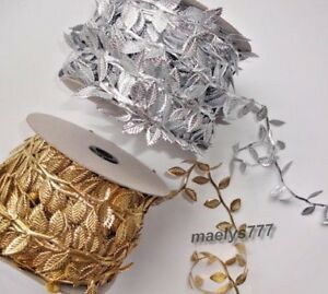 Ruban-Galon-feuille-de-vigne-olivier-Dore-Argente-couture-decoration-mariage