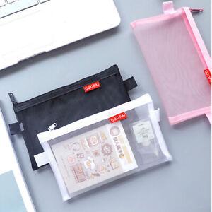 Trasparente-Zipper-Matita-Borsa-Astuccio-Scuola-Forniture-Portapenne-Pencil