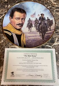 John-Wayne-The-Ride-Home-Collector-s-Plate-Vintage-COA-9-1-4-034-Rio-Grande-Used