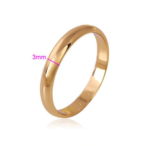 """9ct 9K Yellow /""""Gold Filled/"""" Men Women Plain Wedding Band Ring Various Sizes.W=3"""