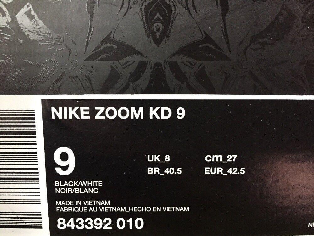 Nike Zoom 9 KD 9 Zoom Mic Drop Oreo Black White Sz 9 Durant Basketball Shoes 843392-010 c0ae55