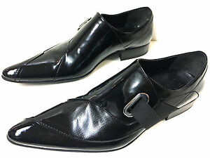 Chelsy-Homme-Cuir-Veritable-Designer-Chaussures-Noir-Boucle-Mocassins-Main-40
