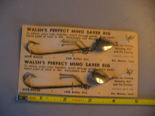 VINTAGE WALSH/'S PERFECT MINO SAVER RIG SPINNER PAIR OF 2 NEW ON CARDS IOWA MADE