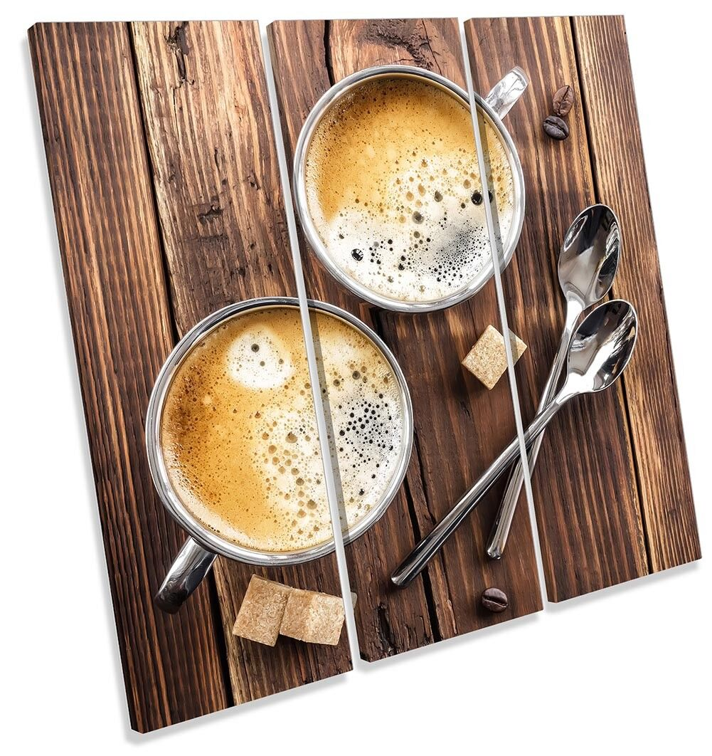 Coffee Coffee Coffee Wooden Kitchen Picture TREBLE CANVAS WALL ART Print 226559