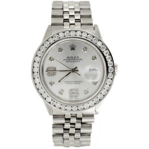 Mens-Rolex-36mm-DateJust-Diamond-Watch-Jubilee-Steel-Band-Shiny-Silver-Dial-4-CT