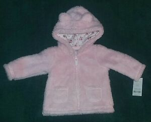 e3012045347a NEW Carter s 6 Months Baby Girl Pink Sherpa Hooded Jacket