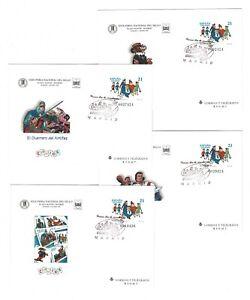 Juego-4-sobres-entero-postales-Comics-ano-1997-primer-dia-first-day-stamps-sello
