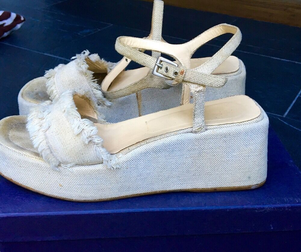 PRADA Natural Cream Canapa Linen Wedge Sandal (women's Size 10) -  595.00
